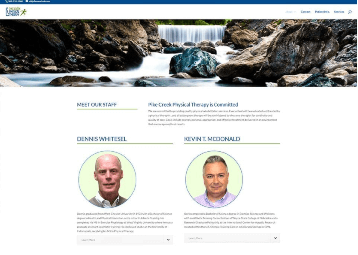 Pike Creek Physical Therapy website design sample | field1post.com